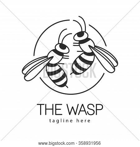 Wasp Logo Icon Designs Vector. Silhouette Of Wasp.