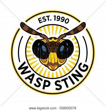 Wasp Bee Logo Cartoon. Vector Graphic Logo. Summer Vector Illustration Cartoon Drawing Cartoon Insec