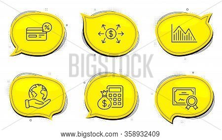 Finance Calculator Sign. Diploma Certificate, Save Planet Chat Bubbles. Investment Graph, Dollar Exc