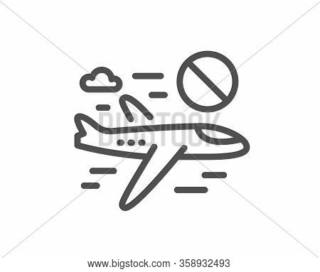 Cancel Flight Line Icon. No Flights Sign. Stop Travelling Symbol. Quality Design Element. Editable S