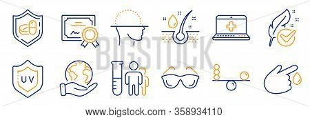 Set Of Healthcare Icons, Such As Medical Help, Face Scanning. Certificate, Save Planet. Medical Tabl