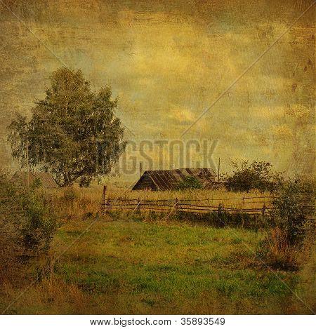 Village Landscape In Vintage Style