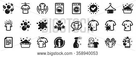 Dryer, Washing Machine And Dirt Shirt. Laundry Icons. Laundromat, Hand Washing, Soap Bubbles In Basi