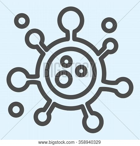 Virus Or Bacteria Line Icon. Covid-19 Pathogenic Microbe Outline Style Pictogram On White Background