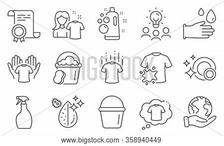 Set Of Cleaning Icons, Such As Clean Bubbles, Clean Shirt. Diploma, Ideas, Save Planet. Bucket, T-sh