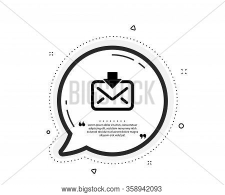 Mail Download Icon. Quote Speech Bubble. Incoming Messages Correspondence Sign. E-mail Symbol. Quota