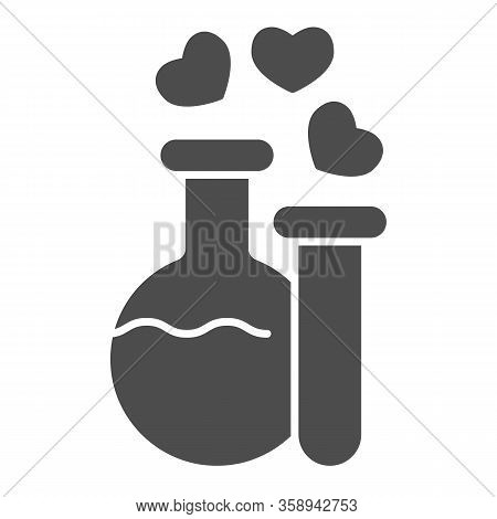 Two Potions Solid Icon. Flask And Tube With Elixir And Hearts Bubbles Symbol, Glyph Style Pictogram