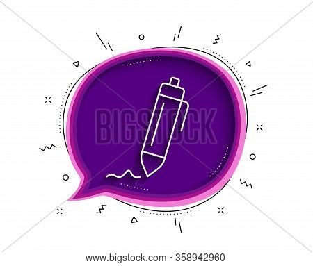 Signature Line Icon. Chat Bubble With Shadow. Written Pen Sign. Education Symbol. Thin Line Signatur