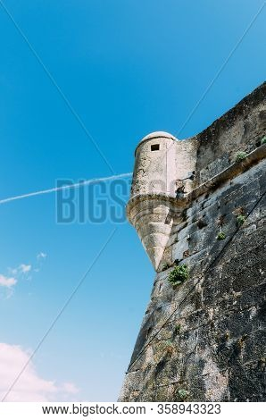 Detail Of The Old Rampart Wall And Watchtower Of The 16th Century Citadel Of Cascais Portugal With M