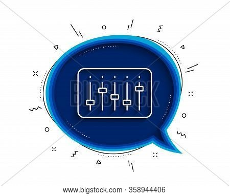 Dj Controller Line Icon. Chat Bubble With Shadow. Music Sound Sign. Musical Device Symbol. Thin Line
