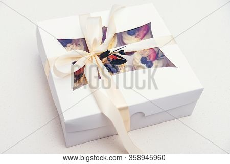 Delivery Box With Tasty Cupcakes. Paper Box With Fruit Cupcakes. Mother's Day Celebration. Birthday