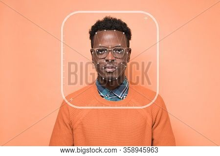 Futuristic Biometric Facial Scan. Identification Of African Man Face.