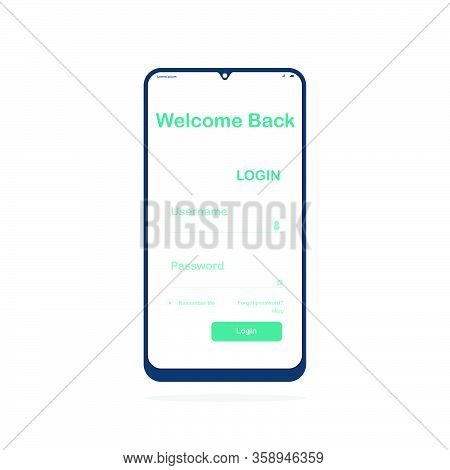 Simple Login Page Template Design On Smartphone. Username And Password For Login. Interface Login. D