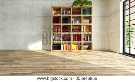 Wooden Personal Bookcase In Empty Room With Concrete Walls. Reflection Of Sunlight In The Room Cover
