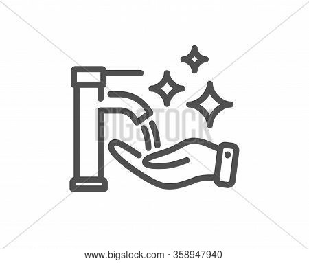 Washing Hands Line Icon. Sanitary Cleaning Sign. Hand Wash Symbol. Quality Design Element. Editable