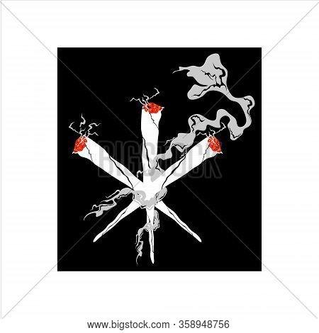 Vector Illustration Of A Cannabis Cigarette Icon, Carcass Model Based On A Cannabis Flat Cannabis Ic
