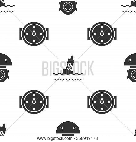 Set Aqualung, Floating Buoy On The Sea And Wind Rose On Seamless Pattern. Vector