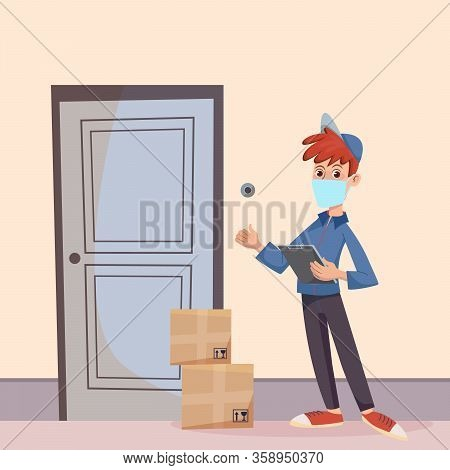 Delivery Man In A Medical Mask Standing At The Door With Parcels. Fast Delivery Service To The Door