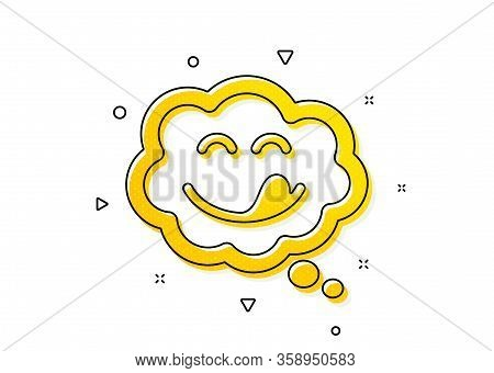 Emoticon With Tongue Sign. Yummy Smile Icon. Comic Speech Bubble Symbol. Yellow Circles Pattern. Cla