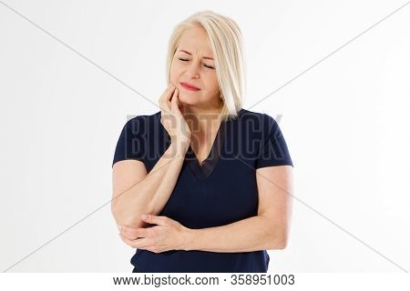 Woman With Toothache, Attractive Middle Aged Woman Pressing Her Bruised Cheek With A Painful Express