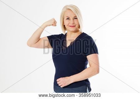 Beautiful Middle-aged Woman Is Showing Her Muscles, On White Background. Feminism Concept, Beautiful