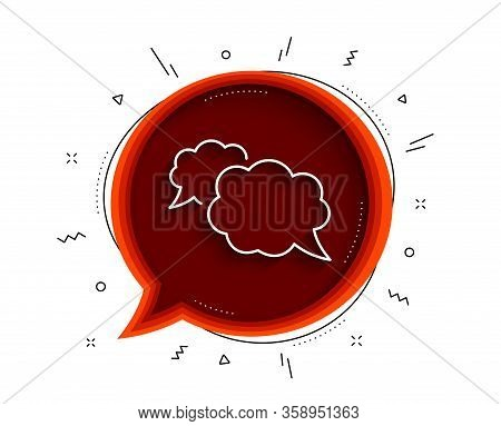Messenger Line Icon. Chat Bubble With Shadow. Comic Speech Bubble Sign. Chat Message Symbol. Thin Li