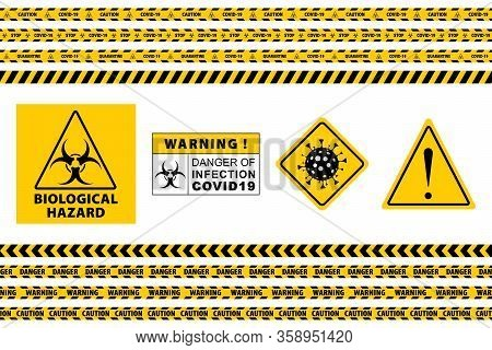 Stop Covid-19 Sign. Seamless Caution Warning Tape. Yellow And Black. Danger Tape. Yellow Attention R