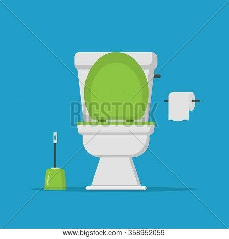 Toilet Bowl With Toilet Paper Roll.  Modern Toilet Set In Flat Style Isolated On White Background. V