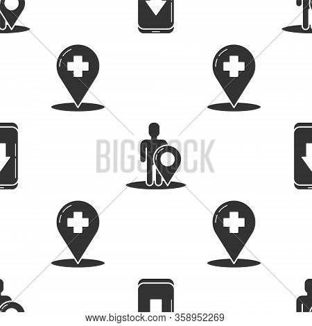 Set Infographic Of City Map Navigation, Map Marker With A Silhouette Of A Person And Medical Map Poi