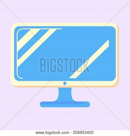 Computer Monitor Vector Icon. Illustration Of Pc Desktop Display In Modern Flat Style With A Shadow.
