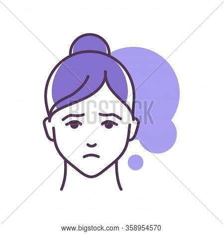 Human Feeling Despair Line Color Icon. Face Of A Young Girl Depicting Emotion Sketch Element. Cute C