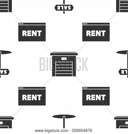 Set Hanging Sign With Text Sale, Garage And Hanging Sign With Text Online Rent On Seamless Pattern.
