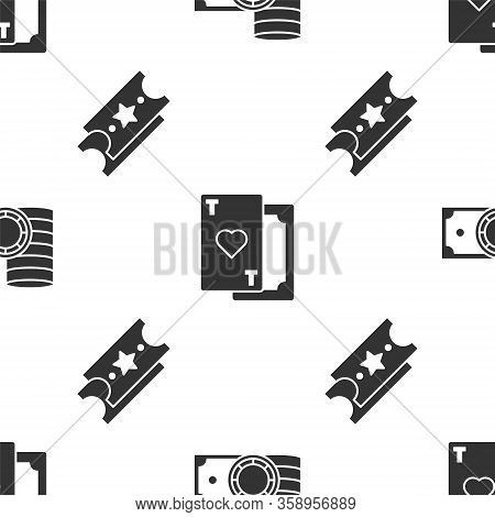Set Casino Chips And Stacks Money Cash, Playing Card With Heart And Lottery Ticket On Seamless Patte