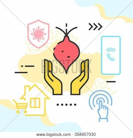 Local Farm Veg Delivery Due To The Covid-19 Quarantine Vector Illustration. Hands With Beetroot, Shi