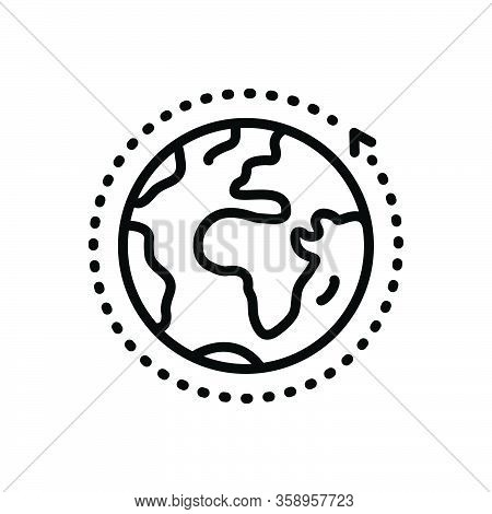 Black Line Icon For Overall Entire World Global Communication Around Earth Ecology Comprehensive