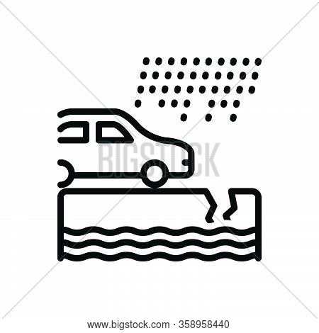Black Line Icon For Instance Example Paradigm Car Rain Event Incident Occurrence Case
