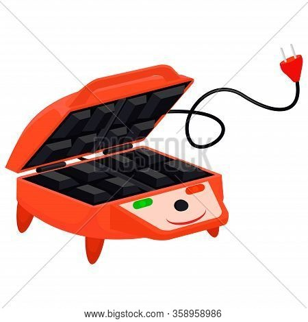 Red Waffle-iron. Waffle Maker Character On A White Background