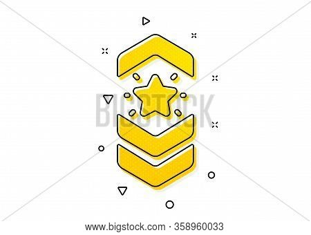 Star Award Sign. Shoulder Strap Stars Icon. Best Rank Symbol. Yellow Circles Pattern. Classic Should