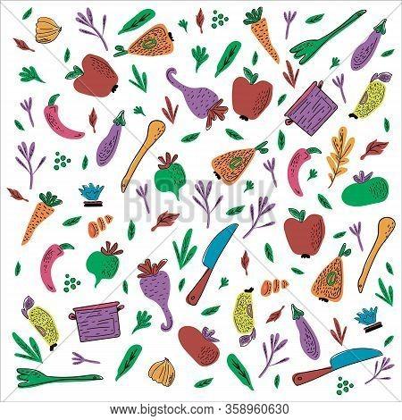 Cooking Flat Hand Drawn Illustration Seamless Pattern. Design Elements Of Kitchen Utensils, Vegetabl