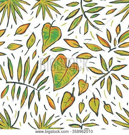 Seamless Tropical Hand Drawn Vector Sketch Pattern With Leaves. Abstract Exotic Stylized Plant On Wh
