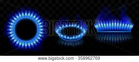 Gas Burner With Blue Flame, Glowing Fire Ring On Kitchen Stove. Vector Realistic Mockup Of Burning P