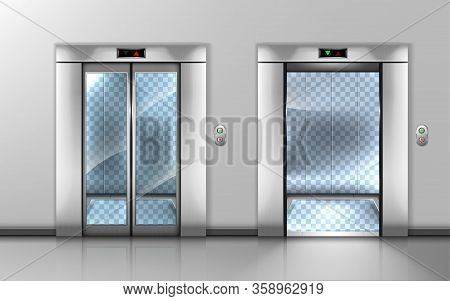 Glass Elevator With Open And Closed Doors In Office Hallway. Vector Realistic Empty Modern Interior