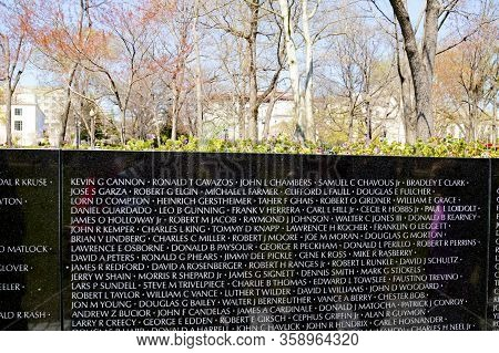 Washington Dc - April 3, 2019:  Vietnam Veterans Memorial, In Washington Dc, Vietnam Memorial Wall,