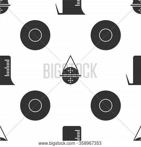 Set Measuring Cup, Ball Tea Strainer And Plate On Seamless Pattern. Vector