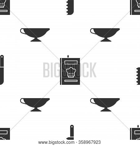 Set Bread Knife, Cookbook And Sauce Boat On Seamless Pattern. Vector