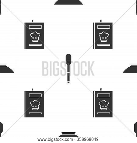 Set Bowl, Spoon And Cookbook On Seamless Pattern. Vector