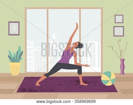 Women Exercising Yoga At Home Flat Color Vector. Stay At Home Yoga Meditation Practice Cartoon. Brea