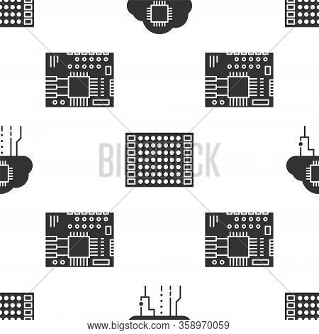 Set Internet Of Things, Printed Circuit Board Pcb And Printed Circuit Board Pcb On Seamless Pattern.