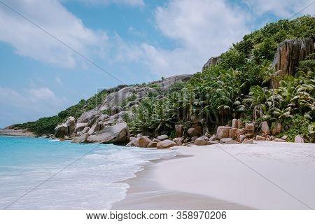 Stunning Tropical Beach At Seychelles, Giant Granit Rocks On The Beachs, Praslin Island Seychelles C