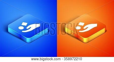 Isometric Cube Levitating Above Hand Icon Isolated On Blue And Orange Background. Levitation Symbol.
